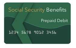 Federal benefits for Social Security, SSI, VA and more can be paid using a prepaid debit card. Here is a mock prepaid government. Debit card for a Social stock illustration