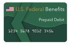 Federal benefits for Social Security, SSI, VA and more can be paid using a prepaid debit card. Here is a mock prepaid government. Debit card for a Social royalty free illustration