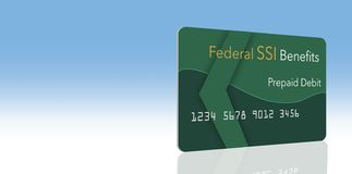 Federal benefits for Social Security, SSI, VA and more can be paid using a prepaid debit card. Here is a mock prepaid government. Debit card for a Supplemental vector illustration