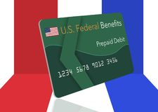 Federal benefits for Social Security, SSI, VA and more can be paid using a prepaid debit card. Here is a mock prepaid government. Debit card for a Social vector illustration