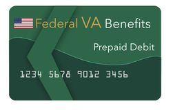 Federal benefits for Social Security, SSI, VA Veteran`s Administration and more can be paid using a prepaid debit card. Here i. Federal benefits for Social vector illustration