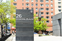 Federal Building Entrance. A wall with the name and address of a federal building Stock Photos