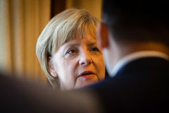 Federal Chancellor of Germany Angela Merkel during a working vis Royalty Free Stock Photos