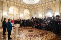 Federal Chancellor of the Federal Republic of Germany Angela Mer stock images