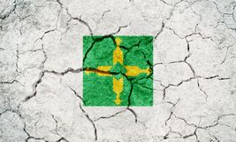 Federal District, federative unit of Brazil, flag. On dry earth ground texture background Stock Photos