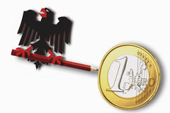 Federal eagle holding red pencil with euro coin on white background Royalty Free Stock Images