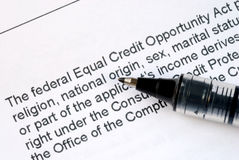 Federal Equal Credit Opportunity Act Stock Photography