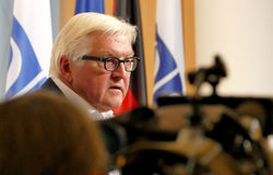 Federal Foreign Minister Dr Frank-Walter Steinmeier holds a press conference Stock Images
