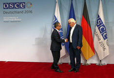 Federal Foreign Minister Dr Frank-Walter Steinmeier welcomes Ahmet Yildiz Royalty Free Stock Image