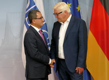 Federal Foreign Minister Dr Frank-Walter Steinmeier welcomes Ahmet Yildiz Stock Photography