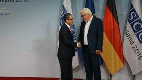 Federal Foreign Minister Dr Frank-Walter Steinmeier welcomes Ahmet Yildiz. POTSDAM, GERMANY. SEPTEMBER 1ST, 2016: Federal Foreign Minister Dr Frank-Walter stock footage