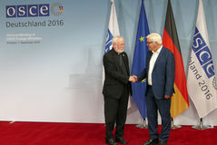 Federal Foreign Minister Dr Frank-Walter Steinmeier welcomes Archbishop Paul Galagher Royalty Free Stock Photography