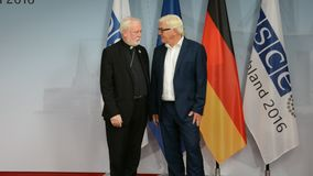 Federal Foreign Minister Dr Frank-Walter Steinmeier welcomes Archbishop Paul Galagher. POTSDAM, GERMANY. SEPTEMBER 1ST, 2016: Federal Foreign Minister Dr Frank stock footage