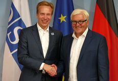 Federal Foreign Minister Dr Frank-Walter Steinmeier welcomes Borge Brende Stock Photos