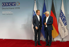 Federal Foreign Minister Dr Frank-Walter Steinmeier welcomes Borge Brende Royalty Free Stock Photography