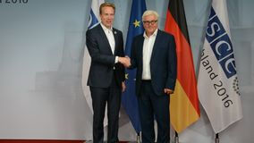 Federal Foreign Minister Dr Frank-Walter Steinmeier welcomes Borge Brende. POTSDAM, GERMANY. SEPTEMBER 1ST, 2016: Federal Foreign Minister Dr Frank-Walter stock video footage