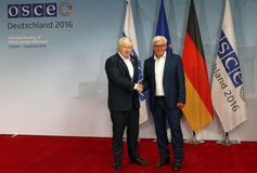 Federal Foreign Minister Dr Frank-Walter Steinmeier welcomes Boris Johnson Royalty Free Stock Photography