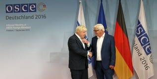 Federal Foreign Minister Dr Frank-Walter Steinmeier welcomes Boris Johnson Stock Image