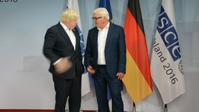 Federal Foreign Minister Dr Frank-Walter Steinmeier welcomes Boris Johnson. POTSDAM, GERMANY. SEPTEMBER 1ST, 2016: Federal Foreign Minister Dr Frank-Walter stock footage