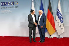 Federal Foreign Minister Dr Frank-Walter Steinmeier welcomes Daniel Mitov Royalty Free Stock Photography