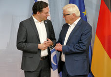 Federal Foreign Minister Dr Frank-Walter Steinmeier welcomes Daniel Mitov Royalty Free Stock Photo