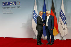 Federal Foreign Minister Dr Frank-Walter Steinmeier welcomes Didier Burkhalter Royalty Free Stock Photo