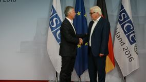 Federal Foreign Minister Dr Frank-Walter Steinmeier welcomes Didier Burkhalter. POTSDAM, GERMANY. SEPTEMBER 1ST, 2016: Federal Foreign Minister Dr Frank-Walter stock footage