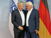 Federal Foreign Minister Dr Frank-Walter Steinmeier welcomes Didier Reynders Stock Image