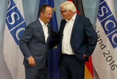 Federal Foreign Minister Dr Frank-Walter Steinmeier welcomes Ditmir Bushati Royalty Free Stock Image