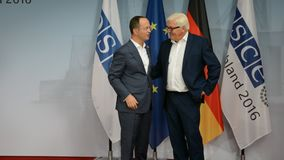 Federal Foreign Minister Dr Frank-Walter Steinmeier welcomes Ditmir Bushati. POTSDAM, GERMANY. SEPTEMBER 1ST, 2016: Federal Foreign Minister Dr Frank-Walter stock footage