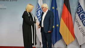 Federal Foreign Minister Dr Frank-Walter Steinmeier welcomes Dunja Mijatovic. POTSDAM, GERMANY. SEPTEMBER 1ST, 2016: Federal Foreign Minister Dr Frank-Walter stock video