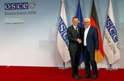Federal Foreign Minister Dr Frank-Walter Steinmeier welcomes Edgars Rinkevics Stock Photos