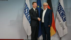 Federal Foreign Minister Dr Frank-Walter Steinmeier welcomes Edgars Rinkevics. POTSDAM, GERMANY. SEPTEMBER 1ST, 2016: Federal Foreign Minister Dr Frank-Walter stock video footage