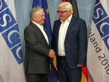 Federal Foreign Minister Dr Frank-Walter Steinmeier welcomes Edward Nalbandian Royalty Free Stock Photo
