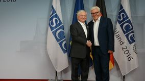 Federal Foreign Minister Dr Frank-Walter Steinmeier welcomes Edward Nalbandian. POTSDAM, GERMANY. SEPTEMBER 1ST, 2016: Federal Foreign Minister Dr Frank-Walter stock video footage