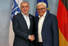 Federal Foreign Minister Dr Frank-Walter Steinmeier welcomes Elmar Mammadyarov Royalty Free Stock Photography