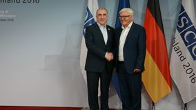 Federal Foreign Minister Dr Frank-Walter Steinmeier welcomes Elmar Mammadyarov. POTSDAM, GERMANY. SEPTEMBER 1ST, 2016: Federal Foreign Minister Dr Frank-Walter stock video footage