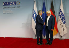 Federal Foreign Minister Dr Frank-Walter Steinmeier welcomes Erlan Abdyldaev Royalty Free Stock Photos