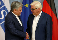 Federal Foreign Minister Dr Frank-Walter Steinmeier welcomes Erlan Abdyldaev Royalty Free Stock Images