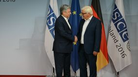 Federal Foreign Minister Dr Frank-Walter Steinmeier welcomes Erlan Abdyldaev. POTSDAM, GERMANY. SEPTEMBER 1ST, 2016: Federal Foreign Minister Dr Frank-Walter stock video footage