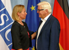 Federal Foreign Minister Dr Frank-Walter Steinmeier welcomes Federica Mogherini Stock Images