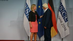 Federal Foreign Minister Dr Frank-Walter Steinmeier welcomes Federica Mogherini. POTSDAM, GERMANY. SEPTEMBER 1ST, 2016: Federal Foreign Minister Dr Frank-Walter stock footage