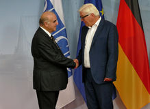 Federal Foreign Minister Dr Frank-Walter Steinmeier welcomes George Vella Royalty Free Stock Photo