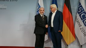 Federal Foreign Minister Dr Frank-Walter Steinmeier welcomes George Vella. POTSDAM, GERMANY. SEPTEMBER 1ST, 2016: Federal Foreign Minister Dr Frank-Walter stock video