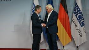 Federal Foreign Minister Dr Frank-Walter Steinmeier welcomes Gilbert Saboya Sunye. POTSDAM, GERMANY. SEPTEMBER 1ST, 2016: Federal Foreign Minister Dr Frank stock video