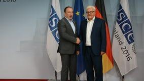 Federal Foreign Minister Dr Frank-Walter Steinmeier welcomes Igor Crnadak. POTSDAM, GERMANY. SEPTEMBER 1ST, 2016: Federal Foreign Minister Dr Frank-Walter stock footage