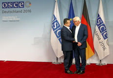 Federal Foreign Minister Dr Frank-Walter Steinmeier welcomes Ivica Dacic Stock Photos
