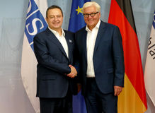 Federal Foreign Minister Dr Frank-Walter Steinmeier welcomes Ivica Dacic Royalty Free Stock Images