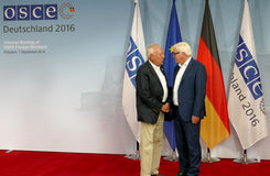 Federal Foreign Minister Dr Frank-Walter Steinmeier welcomes Jose Manuel Garcia - Margallo y Marfil. POTSDAM, GERMANY. SEPTEMBER 1ST, 2016: Federal Foreign royalty free stock photos