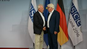 Federal Foreign Minister Dr Frank-Walter Steinmeier welcomes Jose Manuel Garcia -  Margallo y Marfil. POTSDAM, GERMANY. SEPTEMBER 1ST, 2016: Federal Foreign stock footage